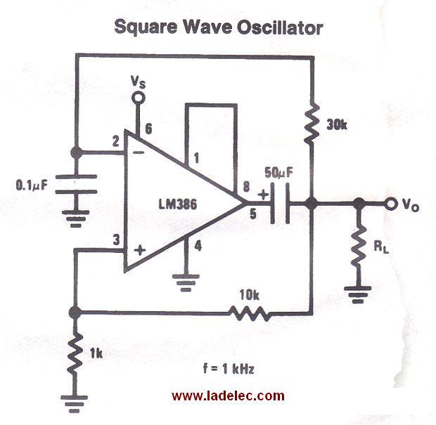 Circuito Oscilador : Oscilador de onda cuadrada con lm
